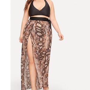 Other - Snake print swimwear cover up skirt plus
